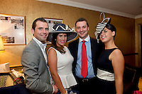 Ian Snee, Ballybrit, Sarah Jane Maclaverty, Roscam Galway, Wayne Finn Clarinbridge and Olga Murray Renmore at the Best Dressed Competition at Hotel Meyrick on Ladies Day of the Galway Races,  for a best dressed competition,sponsored by Brown Thomas Galway, hosted by RTE's  Republic of Telly Star Jennifer Maguire. Photo:Andrew Downes. Photo issued with Compliments, no reproduction fee on first publication..