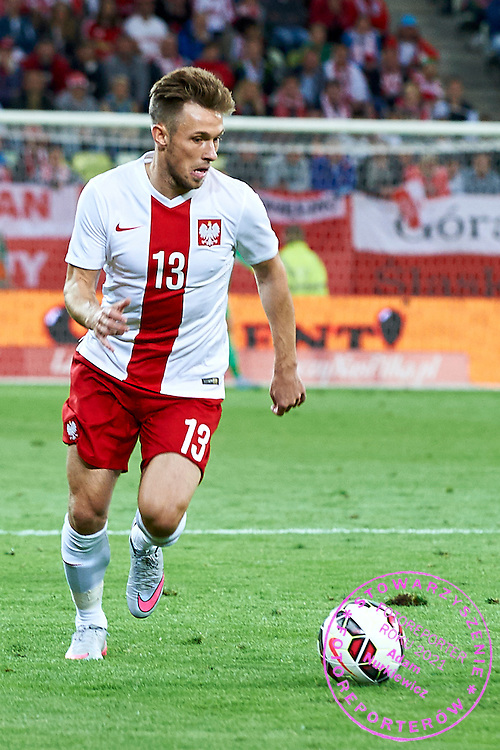 Maciej Rybus from Poland controls the ball during international friendly soccer match between Poland and Greece at PGE Arena Stadium on June 16, 2015 in Gdansk, Poland.<br /> Poland, Gdansk, June 16, 2015<br /> <br /> Picture also available in RAW (NEF) or TIFF format on special request.<br /> <br /> For editorial use only. Any commercial or promotional use requires permission.<br /> <br /> Adam Nurkiewicz declares that he has no rights to the image of people at the photographs of his authorship.<br /> <br /> Mandatory credit:<br /> Photo by &copy; Adam Nurkiewicz / Mediasport
