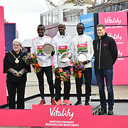 Bashir Abdi 2nd, Mo Farah 1st place and 3rd Daniel Wanjuri winner of the elite race at The Vitality Big Half 2019 on 10 March 2019, London, UK.