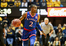 Jan 15, 2018; Morgantown, WV, USA; Kansas Jayhawks guard Lagerald Vick (2) dribbles the ball up the floor during the first half against the West Virginia Mountaineers at WVU Coliseum. Mandatory Credit: Ben Queen-USA TODAY Sports