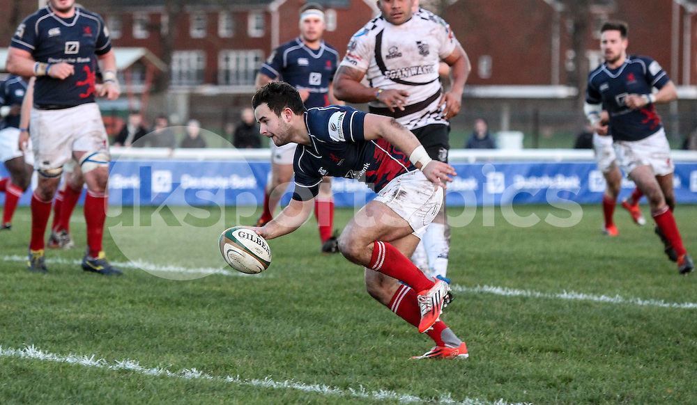 Chris Auld scores a try during the B&amp;I Cup match between London Scottish &amp; Pontypridd at Richmond, Greater London on 13th December 2014<br /> <br /> Photo: Ken Sparks | UK Sports Pics Ltd<br /> London Scottish v Pontypridd, B&amp;I Cup, 13th December 2014<br /> <br /> &copy; UK Sports Pics Ltd. FA Accredited. Football League Licence No:  FL14/15/P5700.Football Conference Licence No: PCONF 051/14 Tel +44(0)7968 045353. email ken@uksportspics.co.uk, 7 Leslie Park Road, East Croydon, Surrey CR0 6TN. Credit UK Sports Pics Ltd