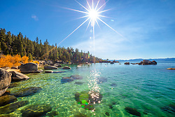 """Whale Beach in Autumn 3"" - Photograph of Whale Beach, Lake Tahoe shot in the fall, Whale Rock can be seen in the distance."