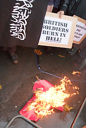© under license to London News Pictures. 19/04/11 Scotland Yard says it has rejected an application by a radical Islamist group to protest outside Westminster Abbey on royal wedding day. The group, Muslims against Crusades, was behind a poppy-burning protest on Armistice Day.FILE PICTURE DATED 11/11/2010. The large poppy was burned during the two minutes' silence, as protesters carried a variety of placards in opposition to British soldiers
