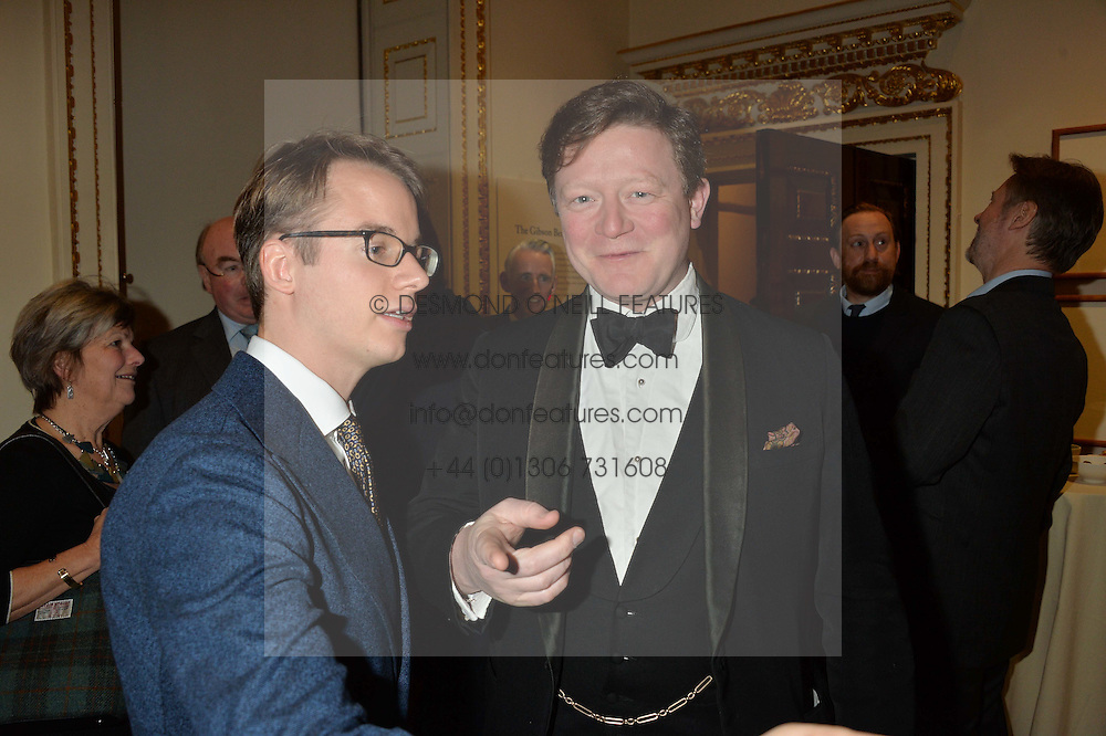 LONDON, ENGLAND 28 NOVEMBER 2016: Left to right, Wolf Burchard, Christopher Boyle at a reception to celebrate the publication of The Sovereign Artist by Christopher Le Brun and Wolf Burchard held at the Royal Academy of Art, Piccadilly, London, England. 28 November 2016.