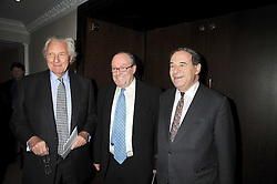 Left to right, LORD HESELTINE, MICHAEL ANCRAM and LORD BRITTAN of Spennithorne at the Palace of Varieties in aid of Macmillan Cancer Support held at the InterContinental Hotel, Park Lane, London on 5th February 2009.