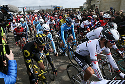 March 10, 2019 - Paris, Ile-de-France, France - The start of the 138,5km 1st stage of the 77th Paris-Nice cycling race between Saint-Germain-en-Laye and Saint-Germain-en-Laye in the west suburb of Paris, France, on March 10, 2019. Whether leaders of a team or merely a team-mate, the riders on the Paris-Nice try to excel, either individually or as a team. According to the stage profiles, changes in the general standings or some unexpected circumstance during the race, each rider adapts his objectives to the situation. (Credit Image: © Michel Stoupak/NurPhoto via ZUMA Press)