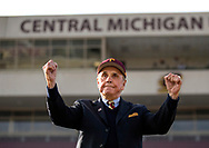 Alumni Dick Enberg was made an honorary Marching Chip and led the band in pregame ceremony at Kelly/Shorts stadium prior to the CMU/Ohio University football game on the campus of Central Michigan University. Central Michigan University photos by Steve Jessmore