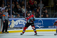 KELOWNA, CANADA - NOVEMBER 29: Leif Mattson #28 of the Kelowna Rockets passes the puck against the Prince George Cougars on November 29, 2017 at Prospera Place in Kelowna, British Columbia, Canada.  (Photo by Marissa Baecker/Shoot the Breeze)  *** Local Caption ***