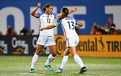 September 19, 2017 - Cincinnati, OH, USA - Cincinnati, OH - Tuesday September 19, 2017: Lynn Williams, Alex Morgan celebrates during an International friendly match between the women's National teams of the United States (USA) and New Zealand (NZL) at Nippert Stadium. (Credit Image: © Brad Smith/ISIPhotos via ZUMA Wire)