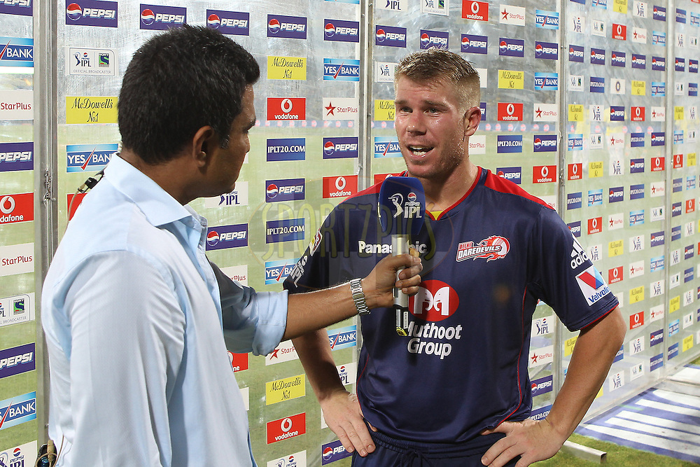 David Warner interviewed after the match during match 64 of the Pepsi Indian Premier League between The Chennai Superkings and the Delhi Daredevils held at the MA Chidambaram Stadium in Chennai on the 14th May 2013..Photo by Ron Gaunt-IPL-SPORTZPICS   .. .Use of this image is subject to the terms and conditions as outlined by the BCCI. These terms can be found by following this link:..http://www.sportzpics.co.za/image/I0000SoRagM2cIEc