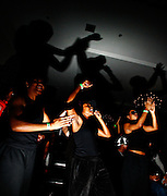 17315Members of The Underground dance group the Sibs Weekend Variety Show 2/06: Photos by Michael Rubenstein..Members of The Underground dance group cheer on other performers at the Sibs Weekend Variety Show at Baker Center on Friday, February 3, 2006.