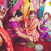 Maharashtrian wedding ceremony with the bride and the groom's family