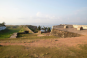 Coastal scenery and historic walls of the fort, Star Bastion, Galle, Sri Lanka, Asia looking south