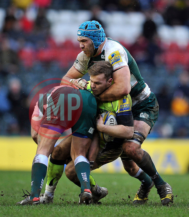 Will Addison of Sale Sharks is double-tackled - Mandatory byline: Patrick Khachfe/JMP - 07966 386802 - 06/02/2016 - RUGBY UNION - Welford Road - Leicester, England - Leicester Tigers v Sale Sharks - Aviva Premiership.