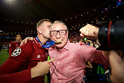 MADRID, SPAIN - SATURDAY, JUNE 1, 2019: Liverpool's captain Jordan Henderson (L) with family after the UEFA Champions League Final match between Tottenham Hotspur FC and Liverpool FC at the Estadio Metropolitano. Liverpool won 2-0 to win their sixth European Cup. (Pic by David Rawcliffe/Propaganda)
