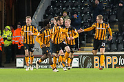 Hull City celebrate as Michael Dawson of Hull City scores a goal to make it 1-1 during the EFL Sky Bet Championship match between Hull City and Barnsley at the KCOM Stadium, Kingston upon Hull, England on 27 February 2018. Picture by Craig Zadoroznyj.