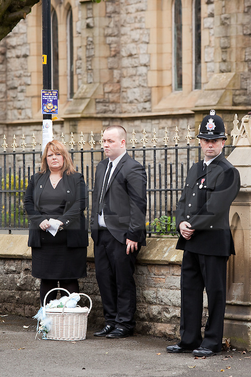 © Licensed to London News Pictures. 19/07/2012. Oldham , UK . The funeral of 2 year old Jamie Heaton , who was killed in a blast in his home on 26/06/2012 . Mourners stand by a basket containing a single white dove which will be released at the end of the service . Photo credit : Joel Goodman/LNP