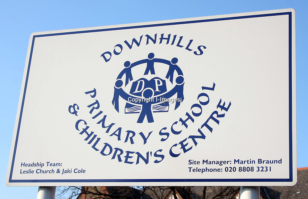 Gv's of downhills primary school, in north london, which faces being forced into academy status against the wishes of the school, teachers, and pupils. Photo By i-Images