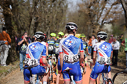 FDJ join the queue to sign in at Trofeo Alfredo Binda 2017. A 131 km road race on March 19th 2017, from Taino to Cittiglio, Italy. (Photo by Sean Robinson/Velofocus)