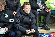 Forest Green Rovers head coach, Mark Cooper during the EFL Sky Bet League 2 match between Forest Green Rovers and Plymouth Argyle at the New Lawn, Forest Green, United Kingdom on 16 November 2019.