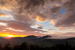 Sunrise view over the Reddington Forest of Crocker and Reddington Mountains from Quill Hill in Reddington Township, Maine. Appalachian Trail.