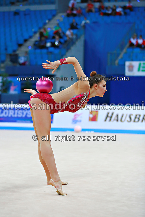 Mickova Monika of Czech Republic competes during the rhythmic gymnastics individual ball qualification of the World Cup at Adriatic Arena on April 1, 2016 in Pesaro, Italy.<br />