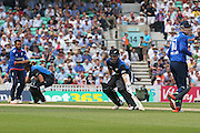 New Zealand Kane Williamson runs between the wicket during the Royal London One Day International match between England and New Zealand at the Oval, London, United Kingdom on 12 June 2015. Photo by Phil Duncan.