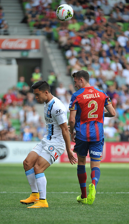 Iain Ramsay (Melbourne City) and Scott Neville (Newcastle Jets) during the Hyundai A- League, round 2 match, between Melbourne City &amp; the Newcastle Jets held at Aami Park Stadium, Melbourne, Victoria on the 19th October 2014.<br /> WAYNE NEAL | SportPix.org.uk