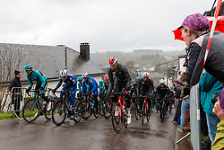 Peloton with Rémi Cavagna (FRA) of Deceuninck - Quick Step (BEL,WT,Specialized) at Saint-Roch, Houffailize during the 2019 Liège-Bastogne-Liège (1.UWT) with 256 km racing from Liège to Liège, Belgium. 28th April 2019. Picture: Pim Nijland | Peloton Photos<br /> <br /> All photos usage must carry mandatory copyright credit (Peloton Photos | Pim Nijland)