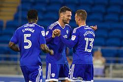 CARDIFF, WALES - Wednesday, August 17, 2016: Cardiff City's Sean Morrison celebrates scoring the second goal against Blackburn Rovers during the Football League Championship match at Cardiff City Stadium. (Pic by David Rawcliffe/Propaganda)
