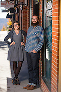 Environmental portrait of Brian and Ashley Bailey owners of the Mustache outside and inside the store, on November 12, 2015, in Fayetteville, Arkansas. Photo by Beth Hall