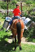 Albania, Benca, Young boy on horseback delivers milk