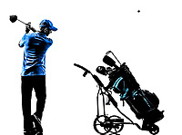 one man golfer golfing golf bag in silhouette studio isolated on white background