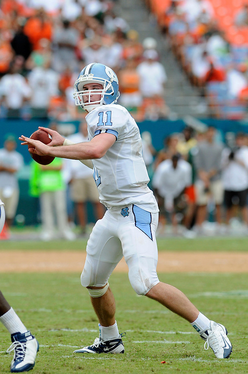 Sepember 27, 2008 - Miami Gardens, FL<br /> <br /> University of North Carolina quarterback Cameron Sexton in action during the Tar Heels 28-24 victory over the Miami Hurricanes at Dolphin Stadium in Miami Gardens, Florida.<br /> <br /> JC Ridley/CSM