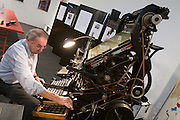 Buchmesse Frankfurt, biggest book fair in the World. An old Linotype Typesetter in action.