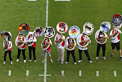 PALO ALTO, CA - OCTOBER 06: Aerial view of the Stanford Cardinal band performing on the field before the game against the Arizona Wildcats at Stanford Stadium on October 6, 2012 in Palo Alto, California. The Stanford Cardinal defeated the Arizona Wildcats 54-48 in overtime. (Photo by Jason O. Watson/Getty Images) *** Local Caption ***