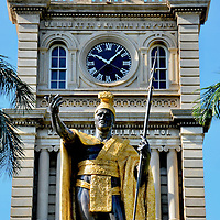 King Kamehameha Statue at Ali&rsquo;iōlani Hale in Honolulu, O&rsquo;ahu, Hawaii<br />