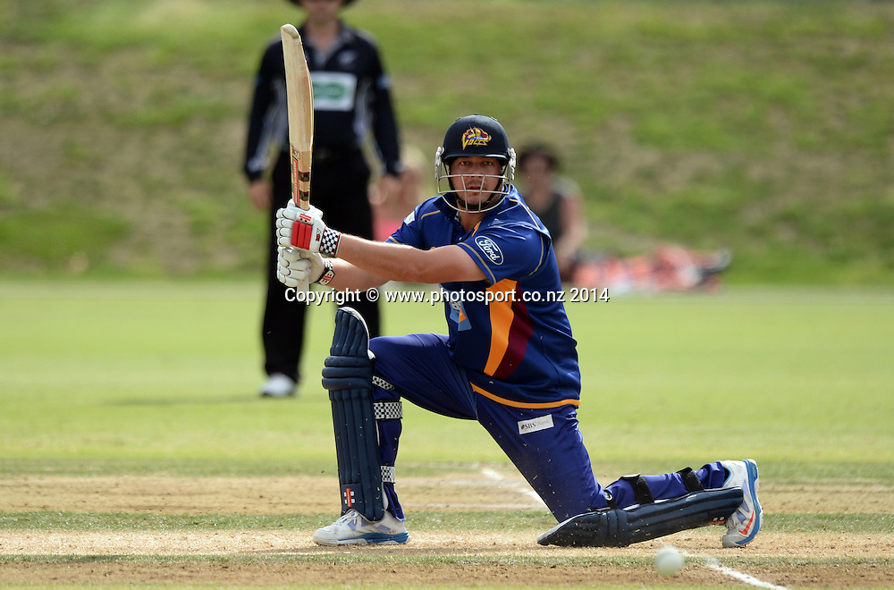 Jesse Ryder batting during the Ford Trophy 50 over One Day match between the Auckland Aces and Otago Volts at Eden Park Outer Oval, Auckland on Sunday 23 March 2014. Photo: Andrew Cornaga / www.Photosport.co.nz