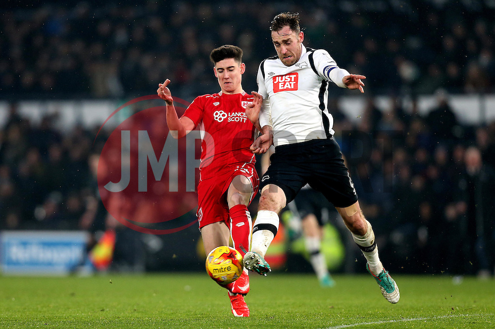 Callum O'Dowda of Bristol City is tackled by Richard Keogh of Derby County - Mandatory by-line: Robbie Stephenson/JMP - 11/02/2017 - FOOTBALL - iPro Stadium - Derby, England - Derby County v Bristol City - Sky Bet Championship