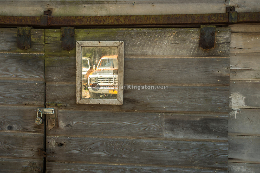 Reflection of a vintage truck in a mirror in Petersburg, Alaska.