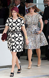 Princess's Beatrice and Eugenie walk out to the paddock to look at the runners in the Epsom Derby in Epsom, England, Saturday 1st June 2013 Picture by Stephen Lock / i-Images