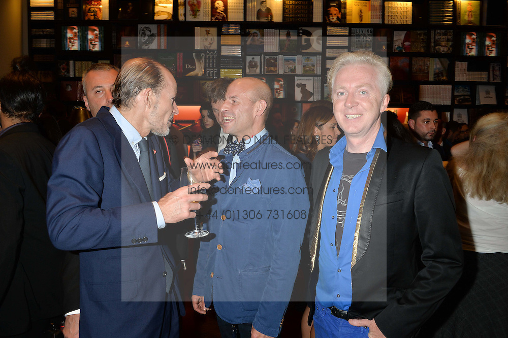 Left to right, PRINCE KYRIL OF BULGARIA, STEFAN BARTLETT and PHILIP TREACY at a party to celebrate the launch of the Maison Assouline Flagship Store at 196a Piccadilly, London on 28th October 2014.  During the evening Valentino signed copies of his new book - At The Emperor's Table.