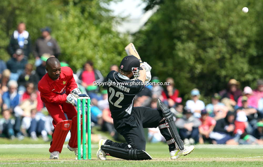 Kane Williamson pulls the ball across through mid-wicket for the Black Caps.<br /> New Zealand v Zimbabwe, 1st ODI, 3 February 2012, University Oval, Dunedin, New Zealand.<br /> Photo: Rob Jefferies/PHOTOSPORT