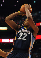 Nov. 5 2010; Phoenix, AZ, USA; Memphis Grizzlies forward Rudy Gay (22) puts up a shot during the first half against the Phoenix Suns at the US Airways Center. Mandatory Credit: Jennifer Stewart-US PRESSWIRE.