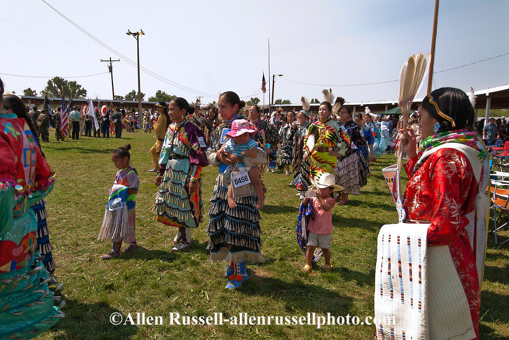 Traditional dancers, Crow Fair powwow, watch Grand Entry, Crow Indian Reservation, Montana