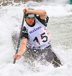 27.06.2015, Verbund Wasserarena, Wien, AUT, ICF, Kanu Wildwasser Weltmeisterschaft 2015, C1 men, im Bild Tim Heilinger (GER) // during the final run in the men's C1 class of the ICF Wildwater Canoeing Sprint World Championships at the Verbund Wasserarena in Wien, Austria on 2015/06/27. EXPA Pictures © 2014, PhotoCredit: EXPA/ Sebastian Pucher