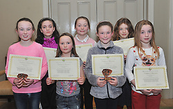 Westport Athletics Awards Girls U12 & U11<br /> Connacht and Mayo championships,<br /> Katie O'Grady, Niamh Reilly, Aoife Staunton, Laura Moran, Roisin O'Brien, Leila O'Malley and Sophie Scahill.<br /> Pic Conor McKeown