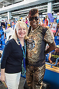Peggy Scott Laborde interviews Bounce music artist Big Freedia inside the grandstands at the New Orleans Jazz & Heritage Festival