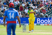 Aaron Finch of Australia is struck by a short ball from Hamid Hassan of Afghanistan during the ICC Cricket World Cup 2019 match between Afghanistan and Australia at the Bristol County Ground, Bristol, United Kingdom on 1 June 2019.