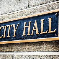 Picture of Chicago City Hall municipal sign on the City Hall building exterior. Photo is high resolution.